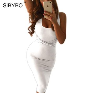 Sibybo Summer Dress Women Tank Bodycon Dress White Black Cross Criss Cotton Sexy Slim Club Bandage Party Dresses Vestidos