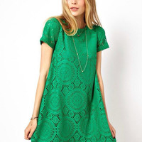 Short Sleeve Lace Mini A-line Dress