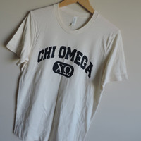 New Chi Omega Bella Canvas Natural Short Sleeve Shirt // Size MEDIUM // Ready to Ship