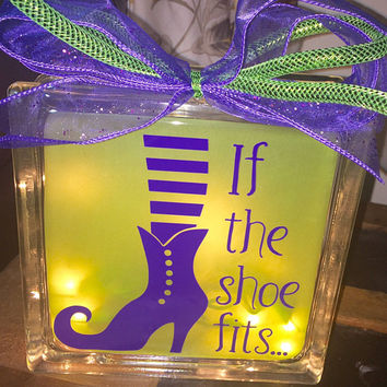 If The Shoe Fits Lighted Glass Block, Witch Halloween Decor