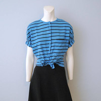 Vintage Blue and Black Striped Button Front T-Shirt Shirt Short Sleeve Top Blouse Batwing 1980's Retro Size Large Shoulder Pads Boxy