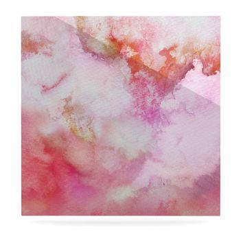"""Marco Gonzalez """"A 0 3"""" Pink Magenta Abstract Modern Painting Mixed Media Luxe Square Panel"""