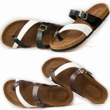 Birkenstock like Summer Fashion Leather Cork Flats Beach Lovers Slippers Casual Sandal