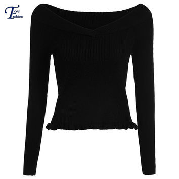 Women Fall Fashion Pullovers Hot Sale Vogue Jumpers Designer Newest Black V Neck Long Sleeve Slim Knit Cropped Sweater