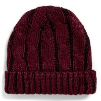 Men's Topman Cable Knit Cap - Burgundy