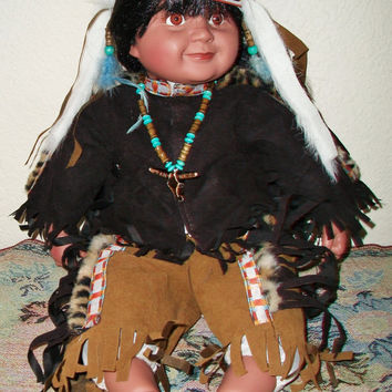 Native American Indian Child Doll Ethnic Tribal Collectible Toy