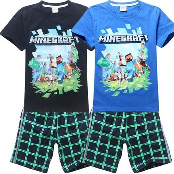 roblox Cotton Minecraft Cartoon Children's clothing Casual Our World Boys Girls  At Kids T Shirt Set baby