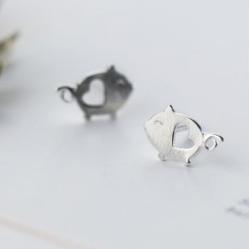 925 sterling silver Drawing hollow out pig earrings E4835-0415 -Gifts box