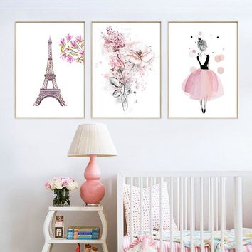 Painting Print HD Picture Girl Flower Nordic Watercolor Canvas Poster Wall Art Living Room Bedroom Bedside Home Decoration