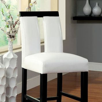 Luminar II Contemporary Counter Height Chair, White And Black Finish, Set of 2