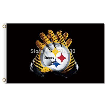 Pittsburgh Steelers 2 Gloves Flag 3x5 FT 150X90CM Banner World Series 2016 100D Polyester Custom Steelers Flag Grommets