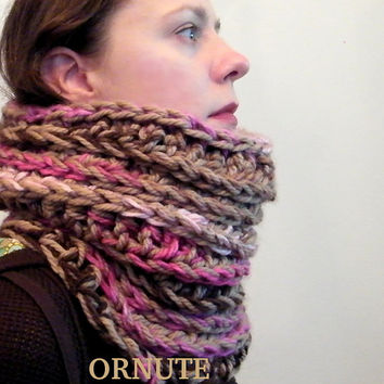 Soft Extra Chunky Cowl /Pink Brown/ Chunky Crochet Neck Warmer/ Loop Scarf// The Monticello-Unisex- Ready to Ship