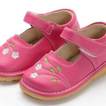 girls squeaky shoes PU frist walkers squeakers 1-5 years squeak flower kids shoes handmade little girls mary jane hot pink