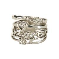 Aeropostale Womens Metallic Dream Ring 4-Pack - Gray,