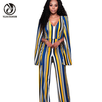 YEJIA FASHION V-Neck Sleeveless Cape Rompers Womens Jumpsuit 2016 High Waist Backless Sexy Long Bodysuit Women Striped Overalls