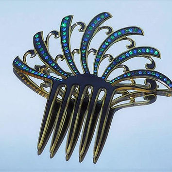 Large Antique Hair Comb 1900s Art Nouveau Victorian Backcomb French Celluloid Comb Emerald Green Sapphire Blue Rhinestone Hair Comb Wedding