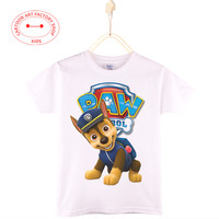 2016 Kids T-Shirt Paw Dogs 100% Cotton Cartoon Print White Patrol Children Clothes Boys Shirts Girls Tops  4-12T Free Shipping