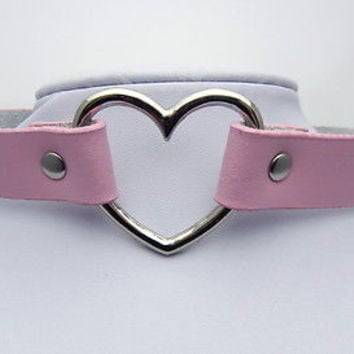 TEN115A Silvertone Heart Pendant Pink Collar Choker Necklace EMO Punk Gothic