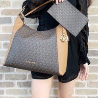 Michael Kors Kimberly Studded Large Shoulder Tote Brown MK Acorn w Pouch