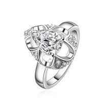 Oval Sparkling Zirconia Silver Ring