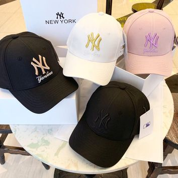 """New York Yankees"" Unisex Simple All-match Letter Embroidery Baseball Cap Couple Peaked Cap Sun Hat"