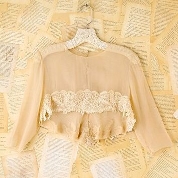 Free People Vintage Lace Trimmed Silk Crop Top