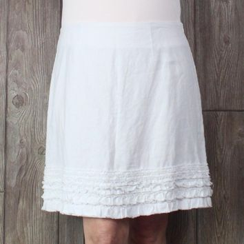 Cute New Tommy Bahama Linen Skirt 14 L size White Ruffled Hem Lined Womens Casual Career