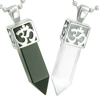 OM and Yin Yang Love Couple Amulet Crystal Points Simulated Black Onyx White Cats Eye Pendant Necklaces