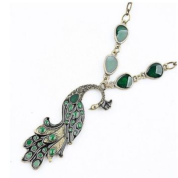 Green Enamel Peacock Pendant Necklace