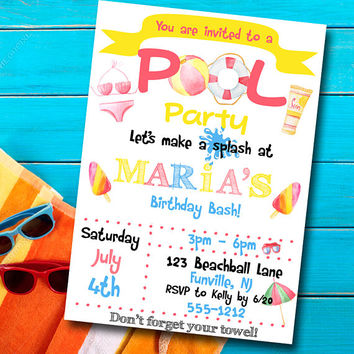 Pool Party Invitation - Girls birthday invitation - Pool Party Invite - Printable party invitation - Custom invitation - Party Invitation