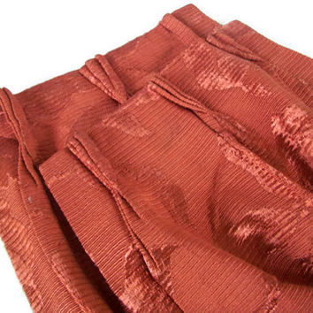 Vintage Satin Brocade Curtains, Pinch Pleat and Lined, Burgundy Drapes, Two Pair, Classic 40's Home Decor