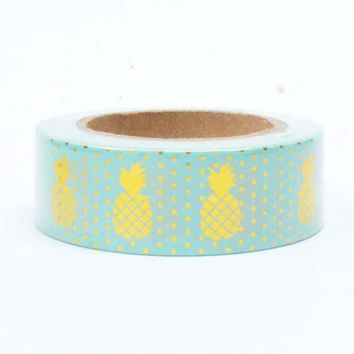 Pineapple Washi Tape-Turquoise and Gold