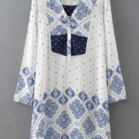 White and Blue Floral Printed Long Sleeve Shift Dress