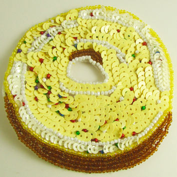 Donut with Yellow and White Beads Frosting 3.5""