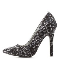 Boucle Tweed Single Sole Pointed Toe Pumps
