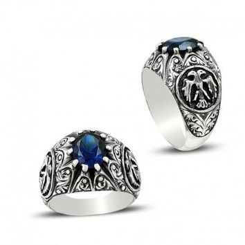 Blue zirconia stone with eagle silver mens ring