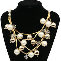 Romantic Exaggeration Pearl Necklace Fashion Multi layer Charm Necklace