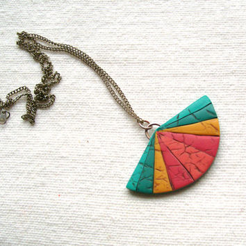 Modern oriental fan necklace geometric polymer clay faux leather pendant necklace turqoise blue teal sunny yellow warm pink rainbow