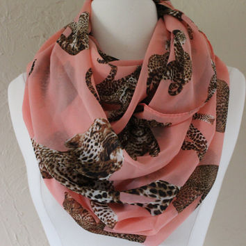 Animal Print Infinity Scarf- MultiCat Pattern Infinity Scarf - Loop Scarf, Circle Scarf - Handmade Women's Accessory