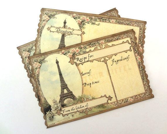 Paris Recipe Cards Paris Recipe Cards Bridal