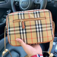 Burberry fashion hot canvas color plaid women casual oblique cross small shoulder bag