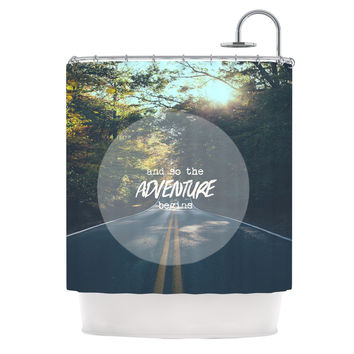 "Ann Barnes ""The Adventure Begins"" Typography Nature Shower Curtain"