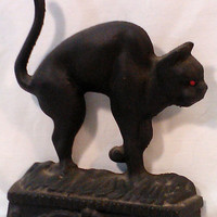 Vintage Arched Back Black Cat Cast Iron Door Stop Halloween Cat