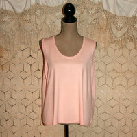 Light Pink Knit Tank Top Silk Shell Top Sleeveless Top Summer Top Loose Fit Boho Shabby Chic Layering Top XL 1X 2X Plus Size Womens Clothing
