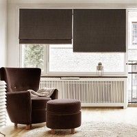 Plain Color Washable Linen Blinds, Fabric Roman Shades, Window Blinds - Dark Brown