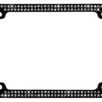 Rhinestone License Plate Frame Clear on Black