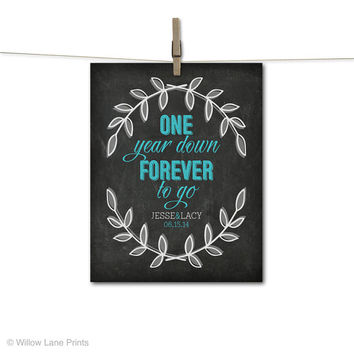 Paper first anniversary gift for wife or for husband -1st anniversary keepsake - one year wedding anniversary - chalkboard style - ideas