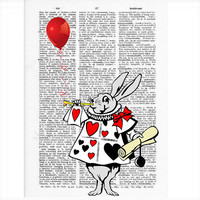 Vintage Dictionary Paper -Alice in Wonderland White Rabbit Dictionary Art Print