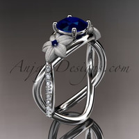 14kt white gold diamond leaf and vine birthstone ring ADLR90 Sapphire - September\'s birthstone. nature inspired jewelry