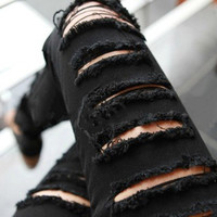 Cadual Personality Black Pants for Women Ripped Pencil Trousers Vintage Holes Long Pantalones Female Mid Waist Torn Jeans QL1059